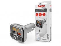 HAMA Bluetooth FM-transmitter/szivargyújtó töltő - 2xUSB + AUX + MP3 + kártyaolvasó + QC 3.0 -  ezüst