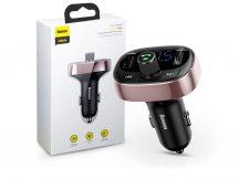 Baseus Bluetooth FM-transmitter/szivargyújtó töltő - 2xUSB + MP3 + TF/microSD kártyaolvasó - Baseus S-09/CCALL-TM12 - black/coffee