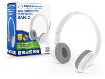 Esperanza Wireless Bluetooth sztereó fejhallgató beépített mikrofonnal - Esperanza Banjo EH222W Bluetooth Headset - fehér