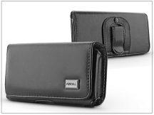 Classic vízszintes, csatos-fűzős övtáska mobiltelefonhoz - Apple iPhone X/Samsung Galaxy S7/A5/J5 - M10 méret - fekete