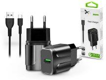 Extreme hálózati töltő adapter + Type-C adat- és töltőkábel - 5V/3A - Extreme LAD0276 QC3.0 - fekete