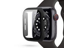 Apple Watch 4/5/6/SE (44 mm) védőtok beépített edzett üveggel - fekete (ECO csomagolás)