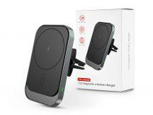 Qi vezeték nélküli, szellőzőrácsba illeszthető autós tartó/gyorstöltő MagSafe vezeték nélküli funkcióval rendelkező Apple készülékekhez - fekete
