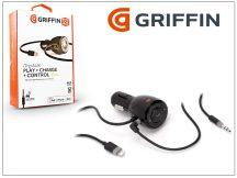 Apple iPhone 5/5S/SE/6/6S/6S Plus szivargyújtós töltő + AUX kábel (5V/2,4) lightning csatlakozóval - Griffin iTrip AUX Play+Charge+Control
