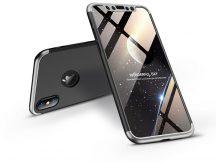 Apple iPhone X/XS hátlap - GKK 360 Full Protection 3in1 - Logo - fekete/ezüst