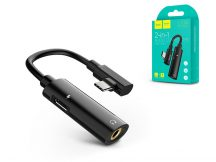 HOCO USB Type-C + 3.5 mm jack adapter egyidőben történő töltéshez és zenehallgatáshoz - HOCO LS19 2in1 Converter - fekete