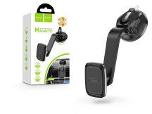 Univerzális műszerfalra/szélvédőre helyezhető mágneses PDA/GSM autós tartó - HOCO CA45A Center Console Magnetic Holder - fekete