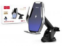 HOCO vezeték nélküli autós tartó/gyorstöltő - 15 W - HOCO S14 Automatic Induction Wireless Fast Charging Holder - Qi szabványos - ezüst