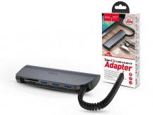 HOCO USB Type-C elosztó HUB - 3xUSB 3.0 + SD/SDHC/SDXC/TF kártya - HOCO HB17 Type-C to 3 USB Ports/Card Converter HUB - szürke