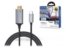 HOCO Type-C + HDMI kábel 1,8 m-es vezetékkel - HOCO UA13 Type-C to HDMI Adapter Full HD/4K - szürke/fekete