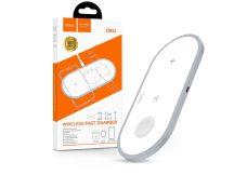 HOCO Qi univerzális vezeték nélküli töltő állomás - 10W - HOCO CW24 Wireless Fast Charger 3in1 - Qi eszköz/Apple iWatch/TWS Airpods - fehér