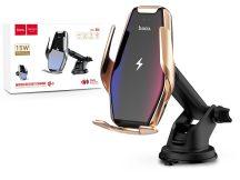HOCO vezeték nélküli autós tartó/gyorstöltő - 15 W - HOCO S14 Automatic Induction Wireless Fast Charging Holder - Qi szabványos - arany