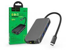 HOCO USB Type-C elosztó HUB - 3xUSB 3.0 + HDMI + RJ45 Ethernet + Type-C PD 2.0 - HOCO HB16 Type-C to 6in1 Adapter - fekete