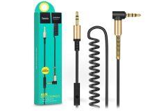 3,5 - 3,5 mm jack audio kábel 2 m-es vezetékkel, beépített mikrofonnal, vezérlővel - HOCO UPA02 Aux Audio Cable - fekete/arany