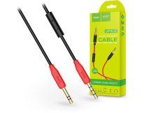 3,5 - 3,5 mm jack audio kábel 1 m-es vezetékkel, beépített mikrofonnal, vezérlővel - HOCO UPA12 Aux Audio Cable - fekete/piros