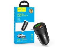 HOCO USB + Type-C szivargyújtós töltő adapter - 5V/4A - HOCO Z32B PD20W + QC3.0 Car Charger - fekete