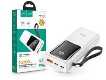 Univerzális hordozható, asztali akkumulátor töltő - HOCO J41 Pro Power Bank - USB+Type-C + Lightning + PD3.0+QC3.0 - 10.000 mAh - fehér