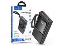 Univerzális hordozható, asztali akkumulátor töltő - HOCO Q4 Power Bank - USB+Type-C + Lightning + PD+QC3.0 - 10.000 mAh - fekete