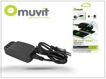USB hálózati töltő adapter - Muvit 4xUSB Travel Charger - 5V/6,8A - black