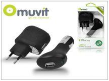 Muvit USB hálózati + szivagyújtó töltő adapter - Muvit USB Duo - 5V/1A - black