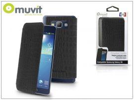Samsung SM-G920 Galaxy S6 flipes tok - Muvit Crystal Folio Croco - black