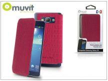 Samsung SM-G920 Galaxy S6 flipes tok - Muvit Crystal Folio Croco - pink