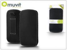 Muvit univerzális valódi bőr slim tok - XL méret - Muvit Ultra Slim - black