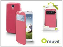 Samsung i9500 Galaxy S4 S View Cover flipes hátlap on/off funkcióval - Muvit Window Folio - pink