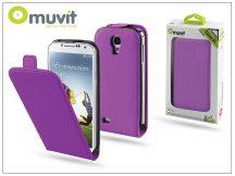 Samsung i9500 Galaxy S4 flipes tok képernyővédő fóliával - Muvit Slim - lila