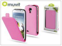 Samsung i9500 Galaxy S4 flipes tok képernyővédő fóliával - Muvit Slim - pink