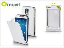 Samsung SM-G900 Galaxy S5 flipes tok képernyővédő fóliával - Muvit Slim - white