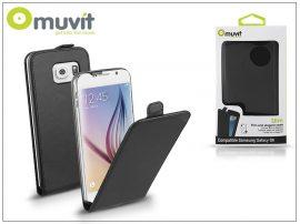 Samsung SM-G920 Galaxy S6 flipes tok képernyővédő fóliával - Muvit Slim Flip - black