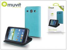 Samsung i8260 Galaxy Core flipes tok kártyatartóval - Muvit Slim and Stand - blue/black