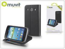 Samsung i8260 Galaxy Core flipes tok kártyatartóval - Muvit Slim and Stand - black