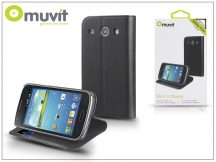Samsung i8260 Galaxy Core flipes tok kártyatartóval - Muvit Slim and Stand - black