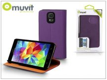 Samsung SM-G900 Galaxy S5 flipes tok kártyatartóval - Muvit Slim and Stand - purple/orange