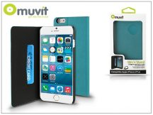 Apple iPhone 6 Plus/6S Plus flipes tok kártyatartóval - Muvit Slim and Stand - turquoise