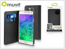 Samsung SM-G850 Galaxy Alpha flipes tok kártyatartóval - Muvit Wallet Folio - black