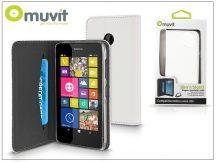 Nokia Lumia 530 flipes tok kártyatartóval - Muvit Wallet Folio - white