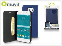 Samsung SM-G920 Galaxy S6 flipes tok kártyatartóval - Muvit Slim and Stand - blue