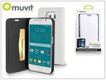 Samsung SM-G920 Galaxy S6 flipes tok kártyatartóval - Muvit Slim and Stand - white