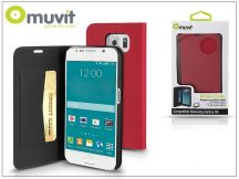 Samsung SM-G920 Galaxy S6 flipes tok kártyatartóval - Muvit Wallet Folio - pink