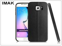 Samsung SM-G920 Galaxy S6 hátlap képernyővédő fóliával - IMAK Vega Leather - fekete