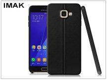Samsung A710F Galaxy A7 (2016) hátlap képernyővédő fóliával - IMAK Vega Leather - fekete