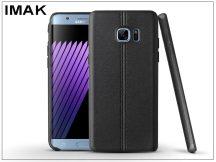 Samsung N930F Galaxy Note 7 hátlap képernyővédő fóliával - IMAK Vega Leather - fekete