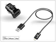 Apple iPhone 5/5S/5C/SE/6S/6S Plus Lightning adatkábel (MFI engedélyes) + szivargyújtós töltő adapter - 5V/1A - black