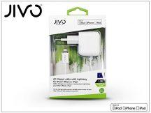 Apple iPhone 5/5S/5C/SE/iPad 4/iPad Mini Lightning hálózati töltő (Apple MFI engedélyes) 1,2 m-es kábellel - JIVO - 5V/2,1A - fehér