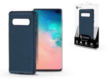 Samsung G975U Galaxy S10+ szilikon hátlap - Roar Carbon Armor Ultra-Light Soft Case - kék