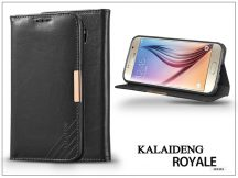 Samsung SM-G920 Galaxy S6 flipes tok kártyatartóval - Kalaideng Royale II Series - black