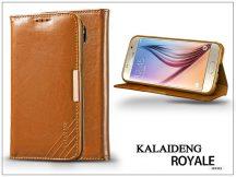 Samsung SM-G920 Galaxy S6 flipes tok kártyatartóval - Kalaideng Royale II Series - brown